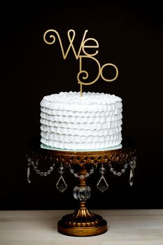 Wedding Cake Topper  We Do  Gold by BetterOffWed on Etsy, $35.00