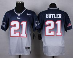 Nike New England Patriots Malcolm Butler Blue Gray Fadeaway Elite Jersey 0d780a752