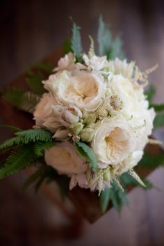garden rose, astilbe, blushing bride, fern. It's the ferns that really do it for me.