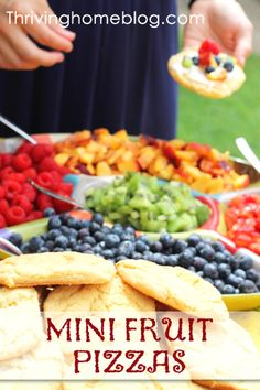 Make your own fruit pizza bar   Mini Fruit Pizzas with Cream Cheese Frosting ~ Thriving Home