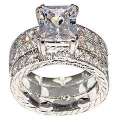Regal 3.9 Ct Emerald-shape Milgrain Cubic Zirconia Cz Brial Engagement Wedding Ring Set (Center Stone Is 3 Cts) (9)