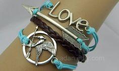 Hipsters jewelrylove braceletmockingjay pin by Jiadan on Etsy, $9.99