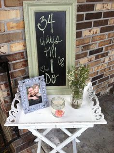 I like the chalkboard.  ;-)   Vintage Bridal shower idea