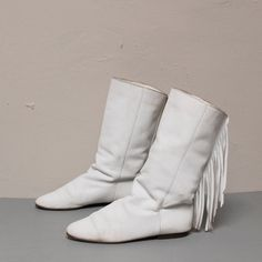 MOCCASIN white leather 80s FRINGE ankle boots . I had these. That were a favorite .