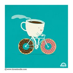 My two loves - coffee and bicycling. Wait, donuts too? Oh goodness...