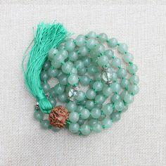 108 Green Aventurine Quartz Crystal Rudraksha Knotted Mala   Buddhist Prayer Beads   Healing Stone   Mala Beads   Green Necklace   Mala  