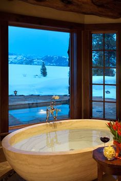 Phillips Ridge is a sensational luxury vacation lodge that is nestled high atop a rocky ridge overlooking Jackson Hole in Wilson, Wyoming. Dream Bathrooms, Beautiful Bathrooms, Wyoming, Future House, My House, Casa Hotel, Log Homes, Cabana, Architecture