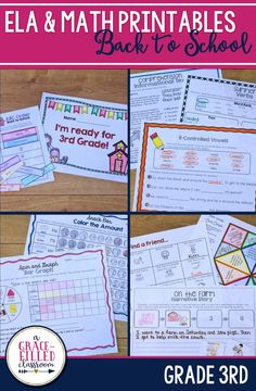 Use these Back to School ELA and Math Printables for 3rd Grade to review 2nd grade standards with your incoming third graders.