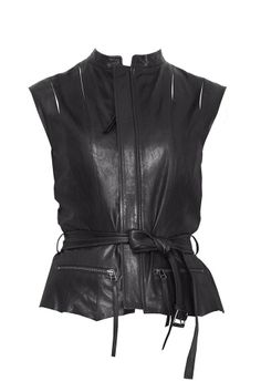 Lamb leather paneled vest - Pinghe