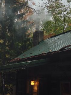 Fall cabin in the woods~so cozy. Cabin In The Woods, Little Cabin, Cabins And Cottages, Log Cabins, Saunas, Cozy Cabin, Country Life, Country Living, Land Scape