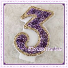 Tangled Inspired - Lavender - Purple Sparkly Birthday Candle - You Choose The Number