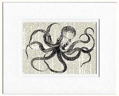 Octopus II - vintage octopus artwork printed on page from old dictionary via Etsy