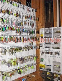 Fishing Tackle Gear - A Fishing Man Cave - Fishing Tackle Storage Systems Visit Websites For More. Bass Fishing Lures, Carp Fishing, Best Fishing, Trout Fishing, Fishing Stuff, Fishing Rods, Kayak Fishing, Fishing Pole Storage, Fishing Tackle Box