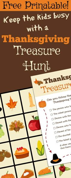Keep the kids busy with this fun free Thanksgiving Treasure Hunt while you prepare dinner. Includes printable cards to hide and a clue checklist.