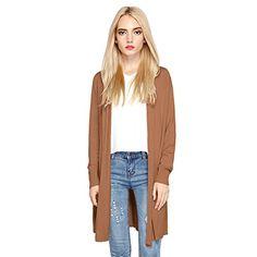 HARBETH Women's fashion soft Open Front Lightweight cotton Long Sweater Cardigan