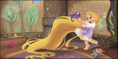 Young Rapunzel and Pascal by David Gilson