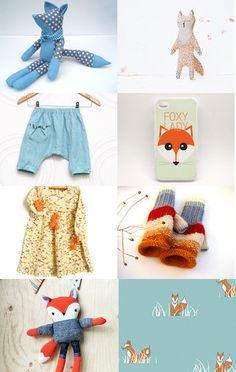 Fox theme by Dace and Sarmite from SweetMeadowSweet // Foxy! Cute kids stuff // foxes--Pinned with TreasuryPin.com