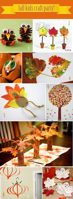 Fall Kids Craft Party Ideas -- fun for them to do while the turkey is cooking! (happy fall crafts for kids) Kids Crafts, Fall Crafts For Kids, Crafts To Do, Preschool Crafts, Art For Kids, Fall Party Ideas For Kids School, Fall Crafts For Preschoolers, Autumn Art Ideas For Kids, Harvest Crafts For Kids