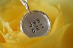 Near Your Heart Necklace- 5/8 inch Personalized Sterling Silver Disc with Sterling Rim