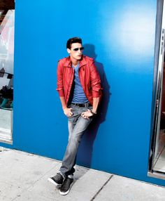 Go Bright: Red Hot KENNETH COLE REACTION #jacket #jeans BUY NOW!