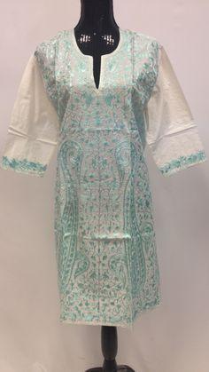 Kashmiri Embroidered Cotton Long Kurta - White & Green