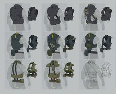 View an image titled 'Vest Designs, Backside Art' in our Metal Gear Online art gallery featuring official character designs, concept art, and promo pictures. Armor Concept, Concept Art, Metal Gear Online, Character Concept, Character Art, Mode Cyberpunk, Armor Clothing, Sci Fi Armor, Military Gear