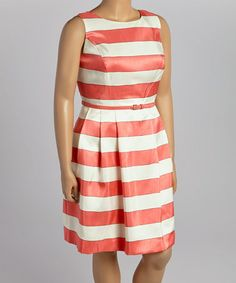 Look what I found on #zulily! Coral & White Stripe Belted Sleeveless Dress - Plus #zulilyfinds