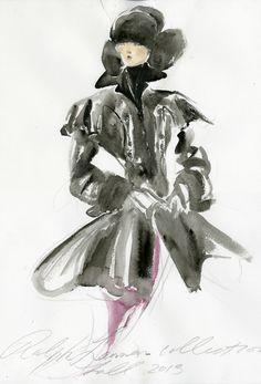 Ralph Lauren I Autumn/Winter I Croquis Fashion Illustration Sketches, Illustration Mode, Fashion Sketches, Fashion Drawings, Clothing Sketches, Fashion Artwork, Fashion Sketchbook, Love Fashion, Fashion News