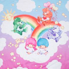 The Little Twin Stars x Care Bears Poncho Sweatshirt shows off Kiki and Lala hanging out with the Care Bears in the clouds. Official Sanrio x Care Bears Collab. Little Twin Stars, Cute Disney Wallpaper, Cartoon Wallpaper, Care Bears Vintage, Care Bear Party, Cherry Blossom Girl, Bear Girl, Hello Kitty Wallpaper, Cool Lettering