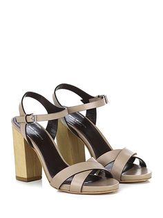 Miss Martina - Sandalo alto - Donna - Sandalo alto in pelle con cinturino alla caviglia e suola in cuoio. Tacco 105, platform 15 con battuta 90. - TAUPE - € 175.00