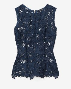 Exclusive for Intermix Sleeveless Lace Cut Out Top: Navy