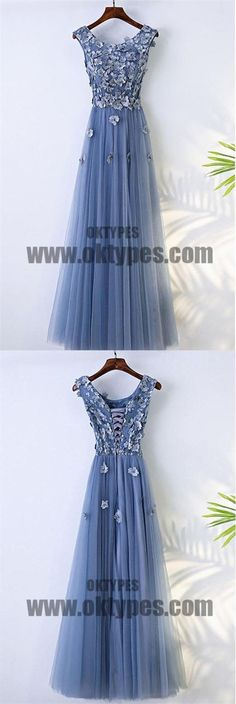 Cute V-Neck Applique Lace Up A-Line Long Tulle Prom Dress, Beautiful Prom Dress, TYP0484