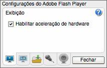 Adobe - Flash Player: Ajuda - Configurações de exibição