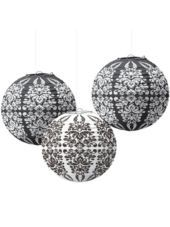 Black & White Paper Lanterns 9in-Party City