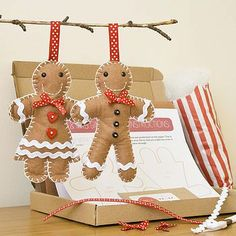 Mr And Mrs Gingerbread Craft Kit. Ideas for DIY craft for kids to work on during Christmas vacation.  Would make a great keepsake & ornament.
