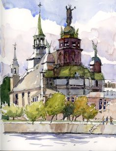 Urban Sketchers: Workshop in Old Montreal. Notre-Dame-de-Bon-Secours church, by Marc Taro Holmes Watercolor Architecture, Watercolor Landscape, Art And Architecture, Watercolor Paintings, Watercolors, Urban Sketchers, Watercolor Sketchbook, Art Sketchbook, Old Montreal