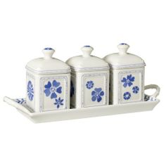 Villeroy & Boch Farmhouse Touch Blue Flowers Jam Set W/ Tray 4 Pc by Villeroy & Boch - Premium Porcelain - Country Coll. $50.24. Brand New - First Quality. Dimensions: N\A. Jam Set W/ Tray 4 Pc - Farmhouse Touch Emerges As A Contemporary Table Concept Of Simple Products Suitable For Everyday Use In The Kitchen And At The Table, Products That Are Multi-Functional And Combine Perfectly Together. - Made In Imported