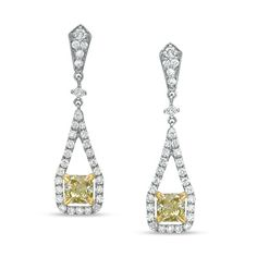 1 CT. T.W. Cushion-Cut Fancy Yellow and White Diamond Drop Earrings in 14K White Gold