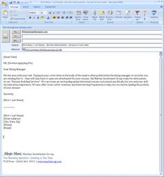 email cover letter and resumes