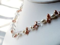 Pearls and crystal necklace  Wedding jewelry  by bridesrules