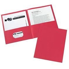 Avery Two-Pocket Folders, Red, Box of 25 (47989) - Economical way to professionally distribute proposals and sell sheets. Business card holder keeps contact information at hand.