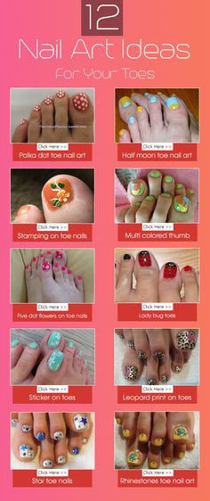 With little practice you can master the technique of nail art on toes. Here are some simple nail art ideas for toes, which you can try yourself Toe Nail Designs, Colorful Nail Designs, Beautiful Nail Designs, Nail Polish Designs, Cute Nail Art, Easy Nail Art, Cute Nails, Diy Nails, Nail Polish Art