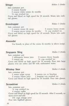 """Drink Recipes from """"Waring Blendor Cook Book"""" 