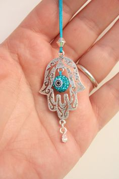 Protecting Hamsa Rear View Mirror Hamsa Charm with Evil Eye Swarovsky Crystal bead., $25.00