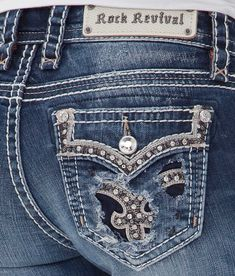 Rock Revival Iselin Mid-Rise Skinny Stretch Jean - Women's Jeans in Iselin MS Rock Revival Jeans, Outfit Jeans, Air Max 2009, Cowgirl Jeans, Bling Jeans, Air Max Day, Punk Shoes, Buckle Outfits, American Eagle Outfits