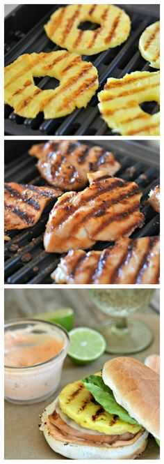 ∙•✼•∙◦∙•✼•∙◦•∙✼•∙◦∙•✼•∙◦∙•✼•∙◦•∙✼•∙Grilled Teriyaki Chicken and Pineapple Burgers with a Spicy Aioli
