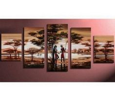 100 Hand Painted Artwork African Painting Hunting 5 Piece Wall Art Oil Modern