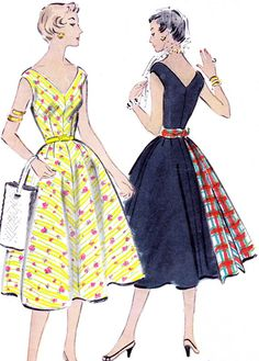 1950s Dress Pattern McCalls 9787 Full Skirt V Neck Sundress Womens Vintage Sewing Pattern Bust 32. $16.00, via Etsy.
