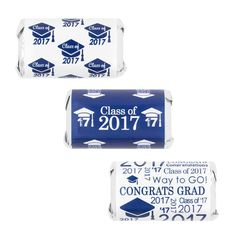 Blue Class of 2017 Graduation Party Favor Stickers for Hershey's Miniature Bars-Distinctivs