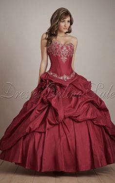 Burgunderrotes Ball Gown Bodenlanges Herz-Ausschnitt Kleid